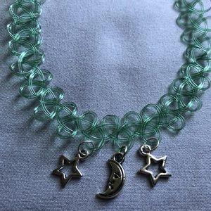 Forrest green double star single moon choker